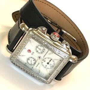 Michele Diamond Deco Wrap Strap Crono watch